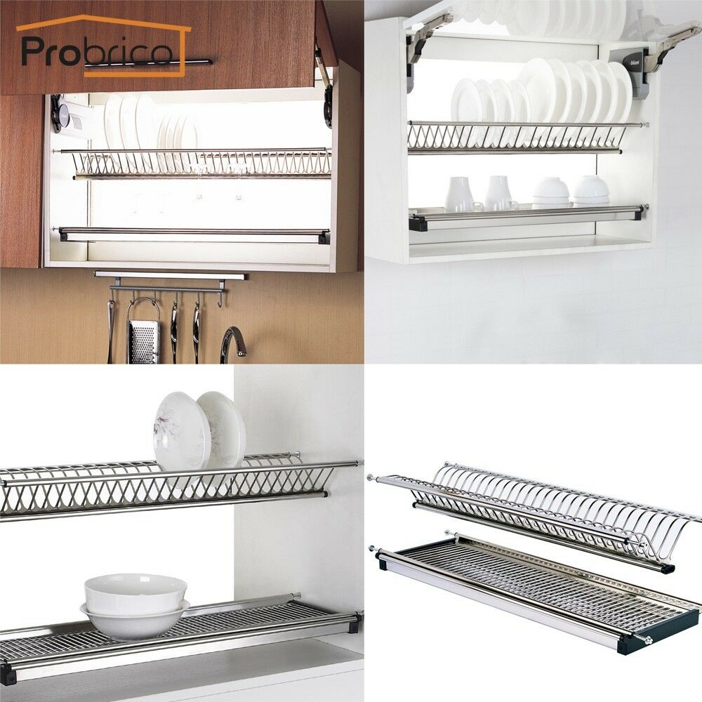 Stainless Steel 2-tier Dish Drying Rack For Kitchen