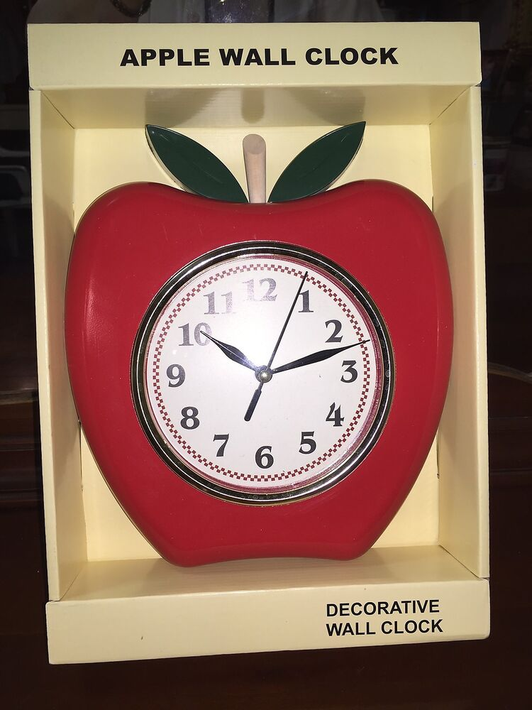 Red Apple Kitchen Wall Clock New Easy Read Numbers Second