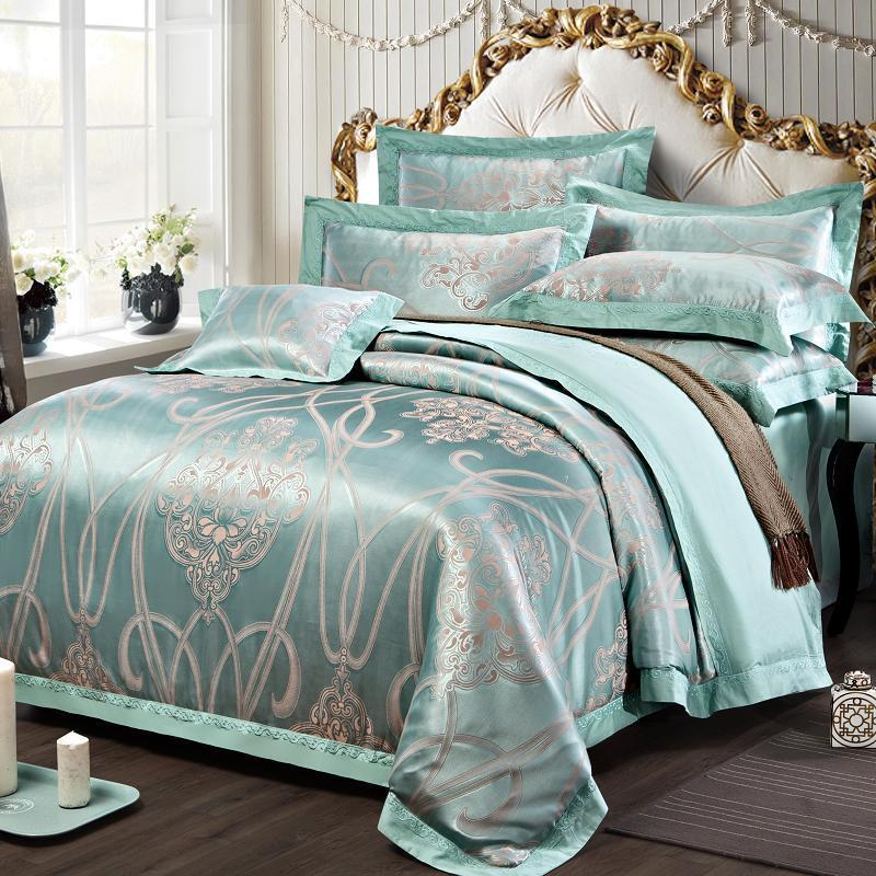 green queen king size peacock satin jacquard fabric 4pcs. Black Bedroom Furniture Sets. Home Design Ideas