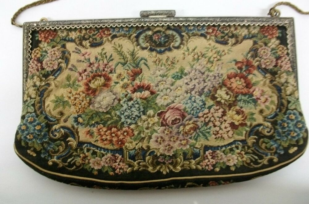 Vintage Petit Point Floral Tapestry Style Purse Evening ...