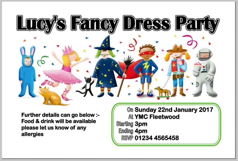 Fancy dress invitations cards stationery ebay personalised fancy dress birthday party inviteinvitesinvitation cards stopboris Images