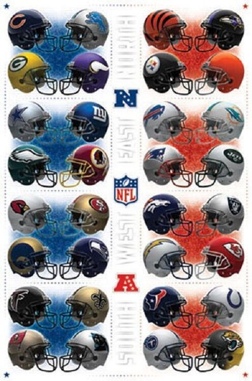 nfl football poster teams helmets team helmet posters afc nfc logos divisions division sports 22x34 fast vs wall college shipping