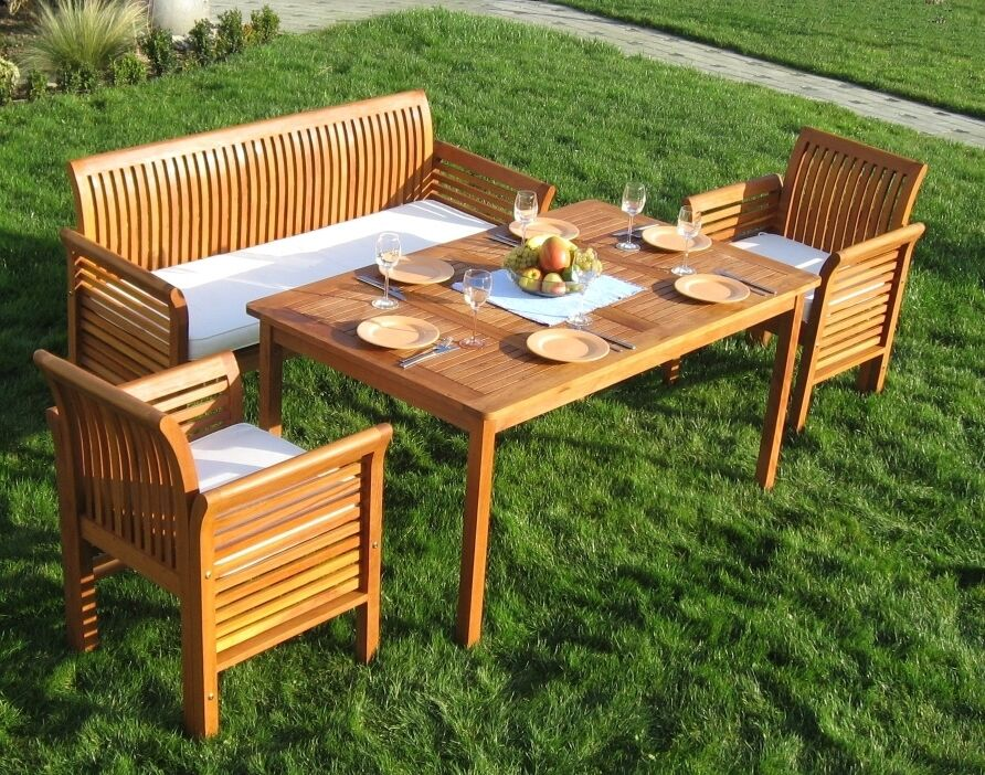 garten sitzgruppe small family bank tisch st hle gartenset holz bangkirai ebay. Black Bedroom Furniture Sets. Home Design Ideas