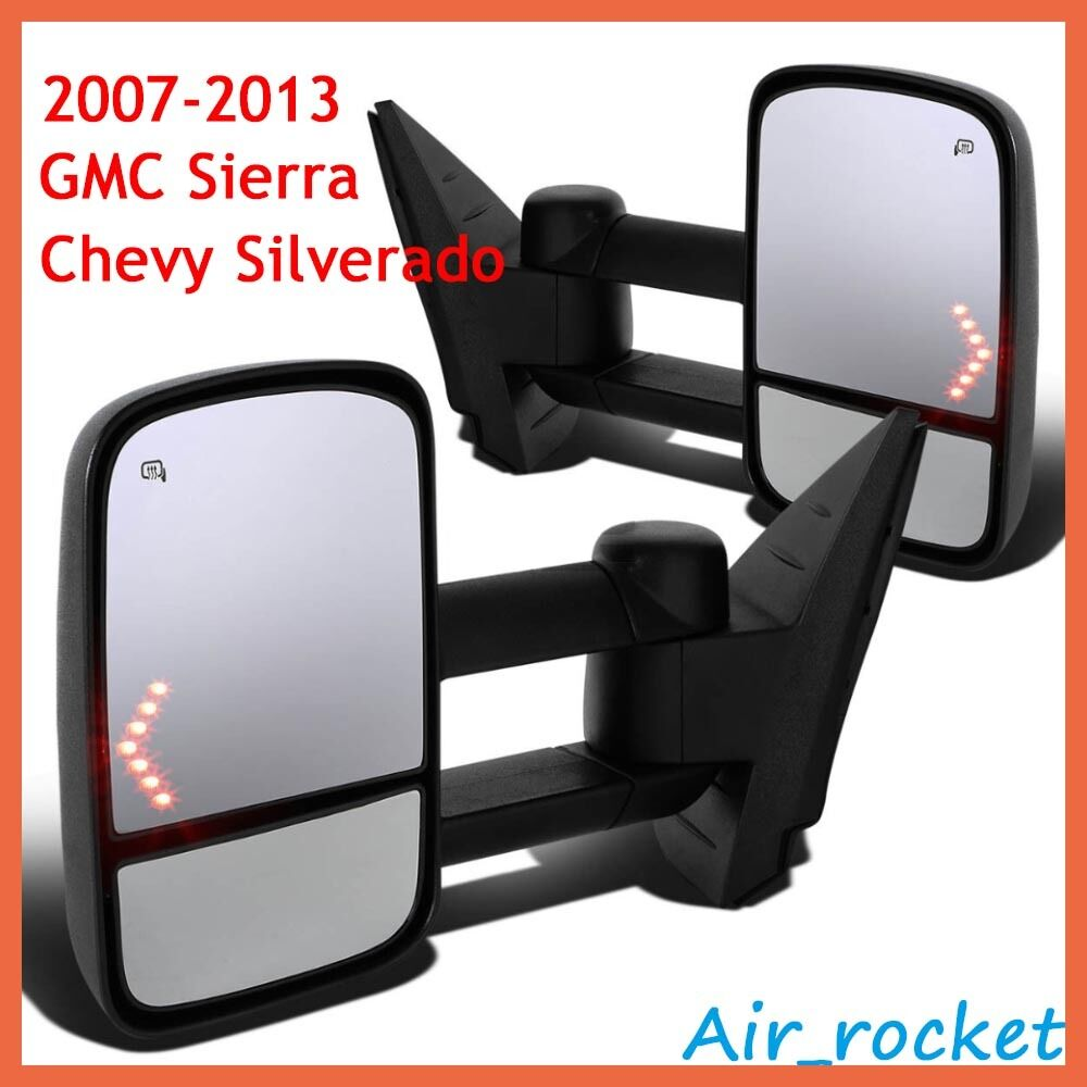 pair power heated led signal towing mirrors for 07 13 chevy silverado 1500 2500 ebay. Black Bedroom Furniture Sets. Home Design Ideas