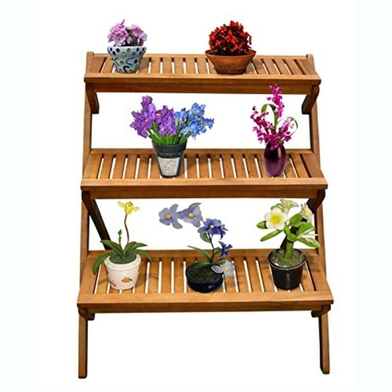 Vifah Outdoor Wood Three Layer Plant Stand V499 Plant