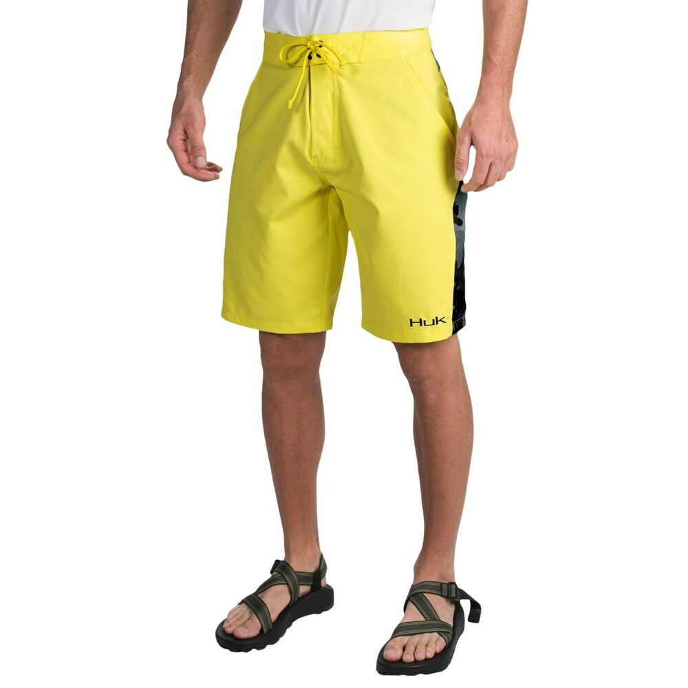 Huk fishing hook board shorts color yellow black camo for Huk fishing shorts