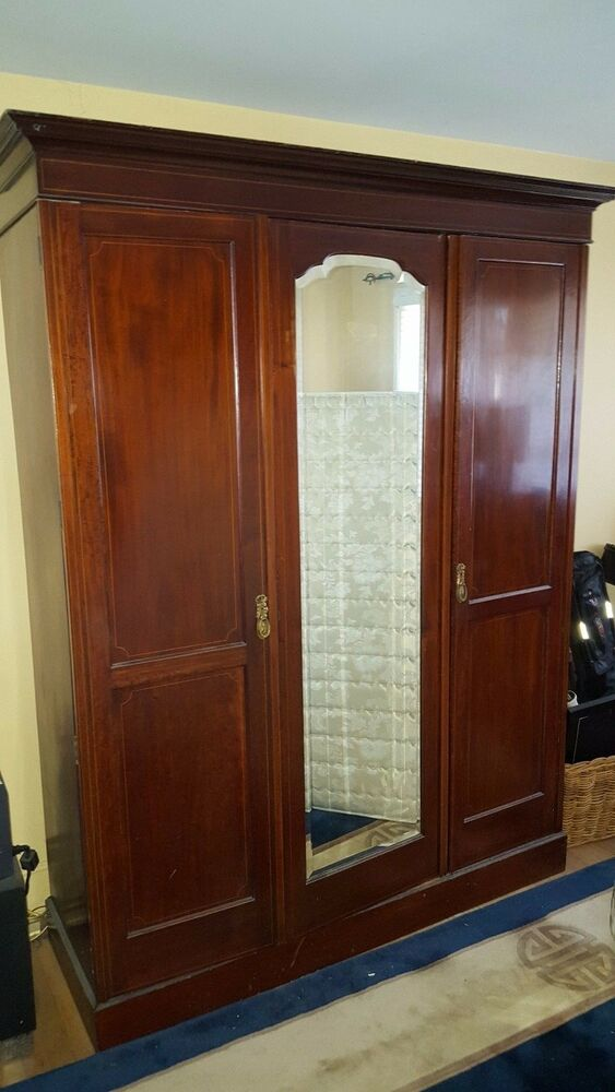Antique Mahogany Ceveled Mirror Wardrobe Armoire Ebay