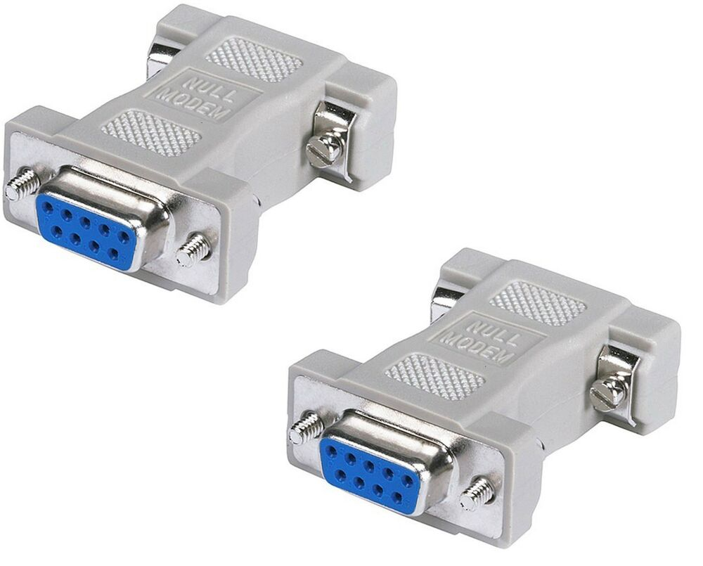 2x Db9 Serial Port Null Modem Adapter F F 9 Pin Female