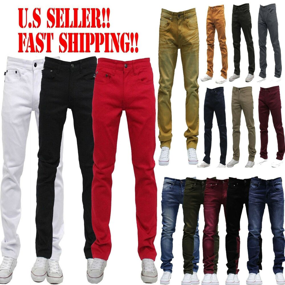 MEN Jeans Slim STRETCH FIT SLIM FIT Trousers Casual Pants SKINNY AKADEMIKS STYLE | eBay