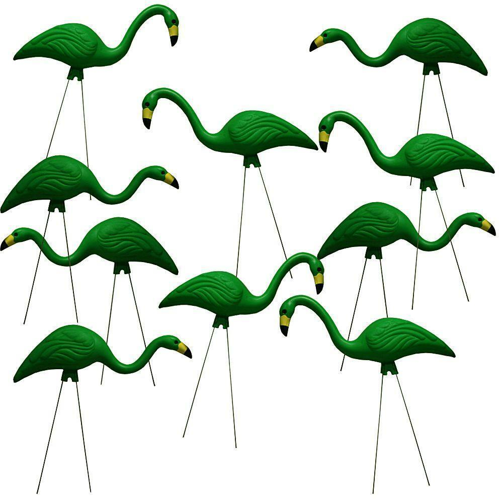 10 Pack 27 Green Flamingos Plastic Yard Garden Lawn Art