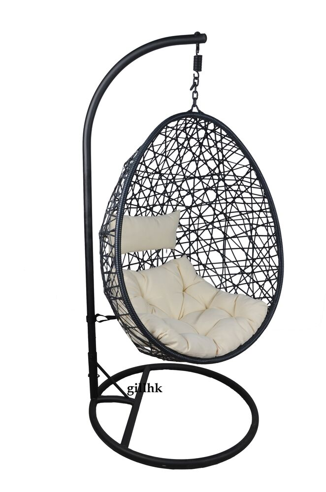 A Stylish Garden Hanging Swinging Wicker Egg Chair With Cushion Ebay