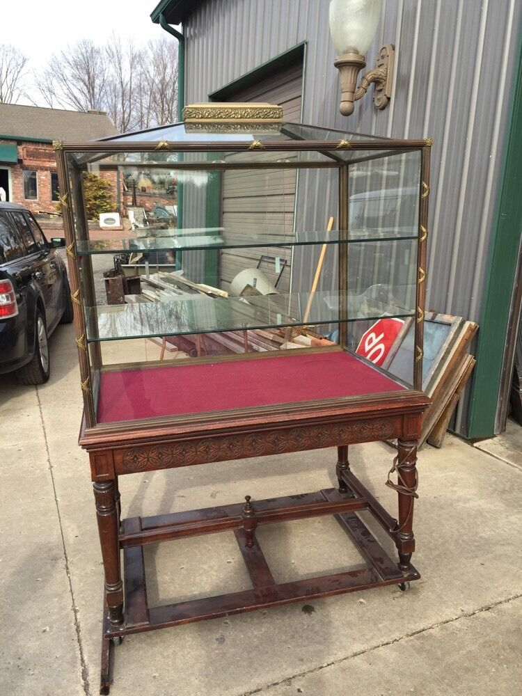 4 Available Priced Each Bronze Glass Walnut Antique ...
