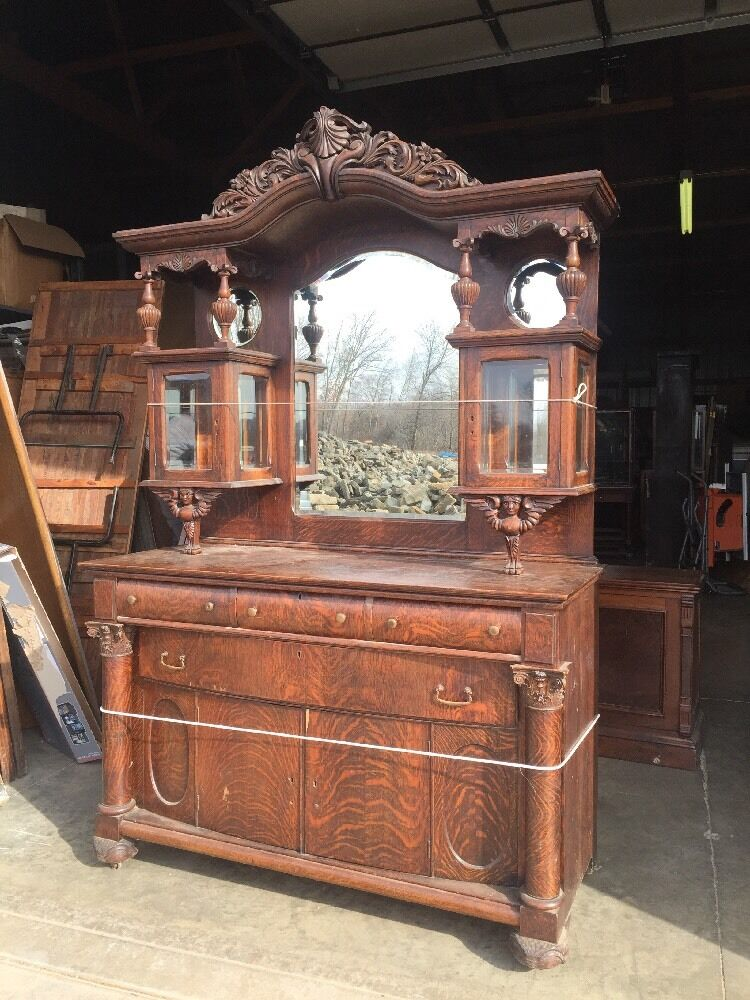 Antique Oak Sideboard Beveled Mirrors Beveled Glass