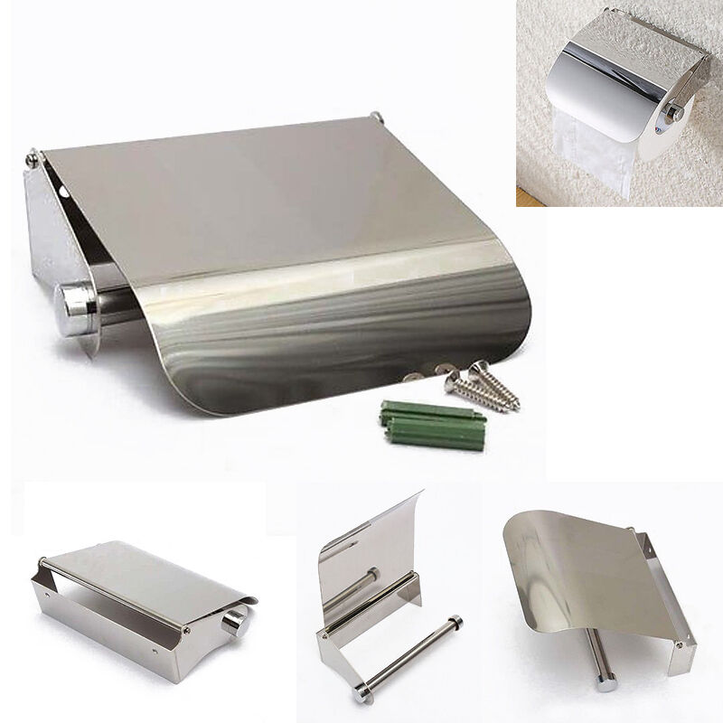 Stainless Steel Bathroom Toilet Paper Holder Roll Tissue Box Wall Mounted Hol