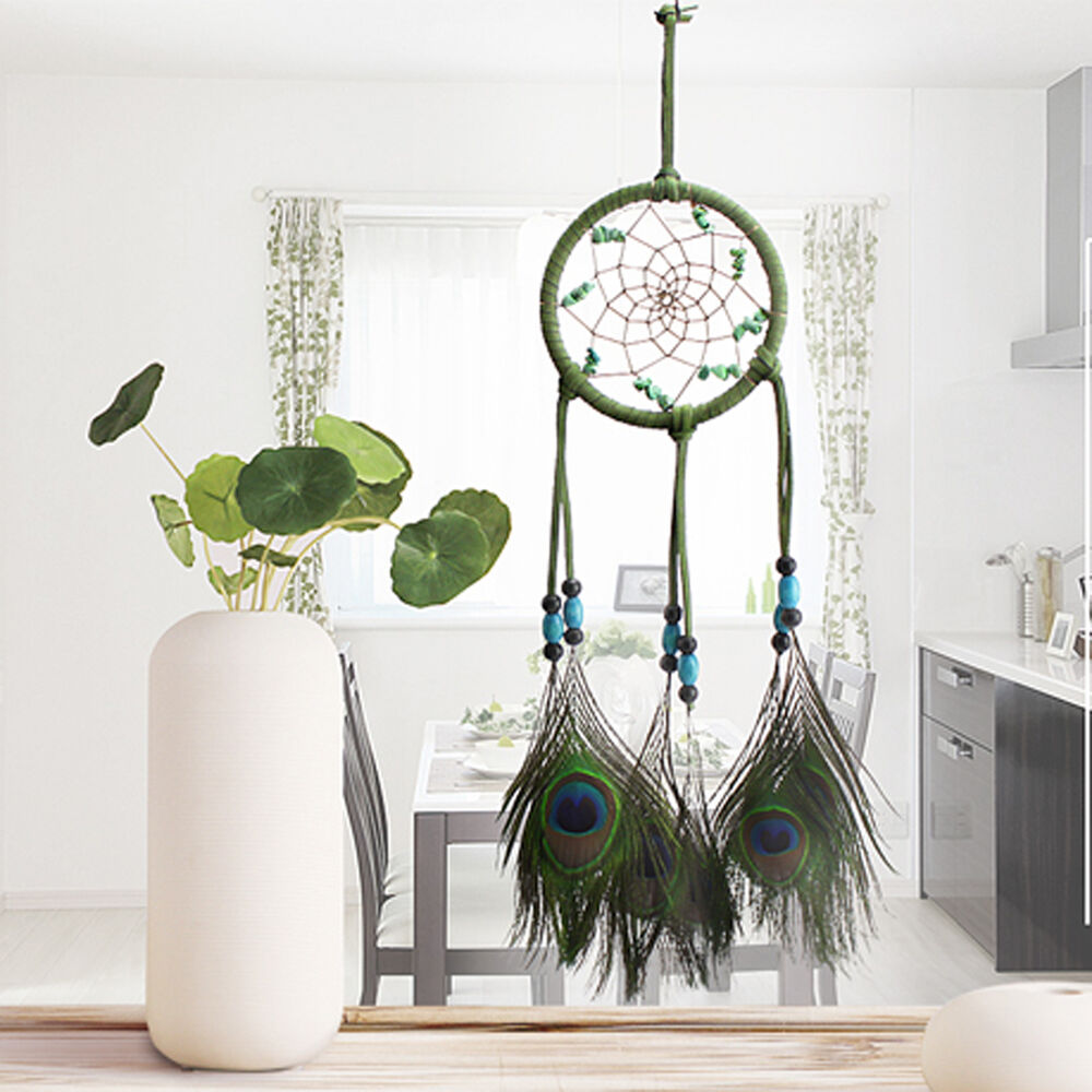 Handmade dream catcher peacock feather home wall hanging for Art for decoration and ornamentation