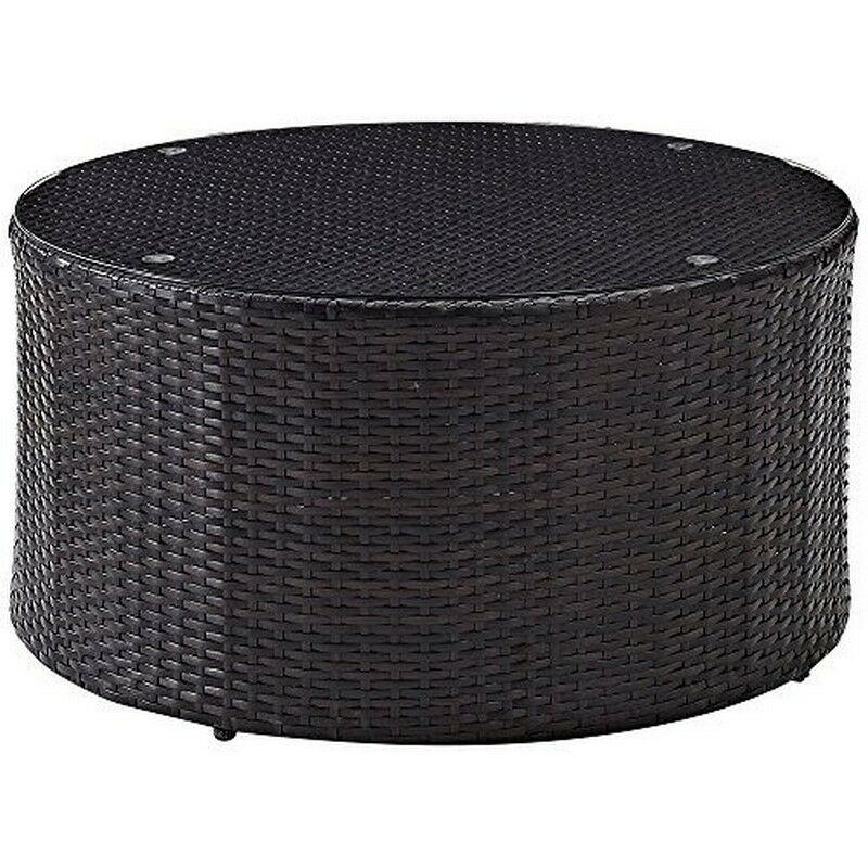 Wicker Coffee Table With Glass Top: Crosley Catalina Outdoor Wicker Round Glass Top Coffee