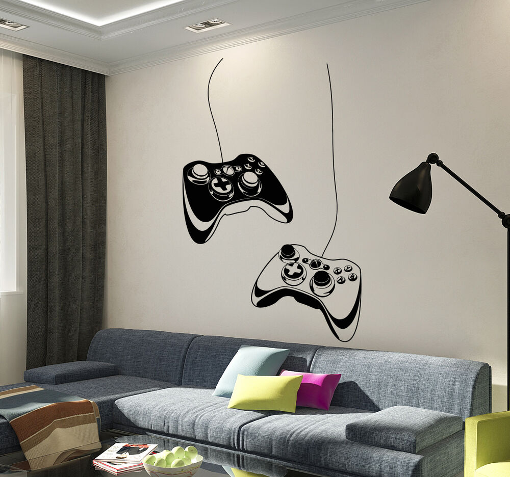 Vinyl Wall Decal Joystick Video Game Play Room Gaming Boys
