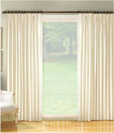 Pinch Pleated Thermal Insulated Drapes: NEW Fireside Ivory Cotton Duck Pinch Pleated Insulated