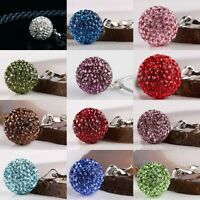 925 Sterling Silver Crystal Czech Ball Birthstone Charm Pendant Necklace Bead 1X