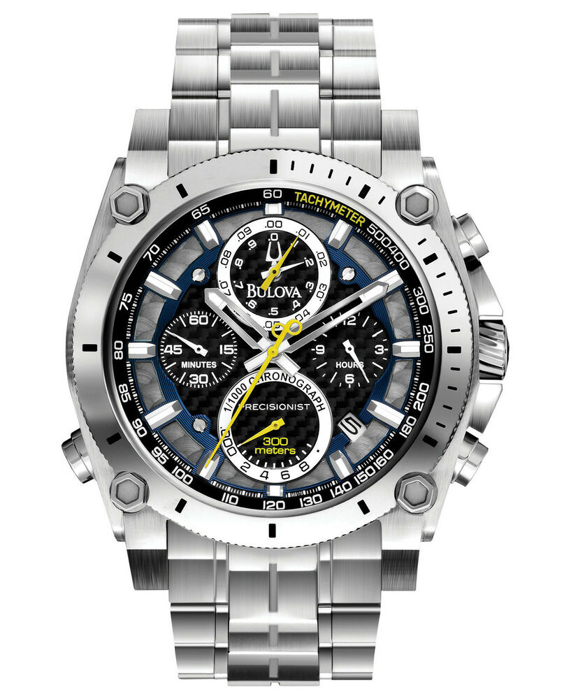 Bulova men 39 s 96b175 precisionist chronograph stainless steel watch 428150272014 ebay for Watches bulova