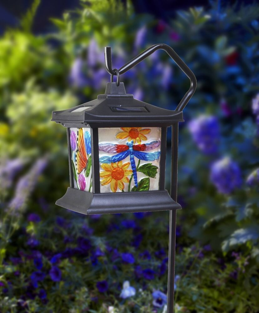 New Solar Hanging Floral Stained Glass Led Light Dragonfly Rechargeable Battery Ebay