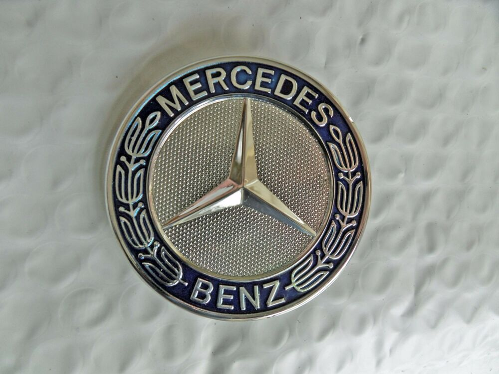 Mercedes hood bonnet badge emblem blue chrome a 204 817 for Mercedes benz bonnet badge