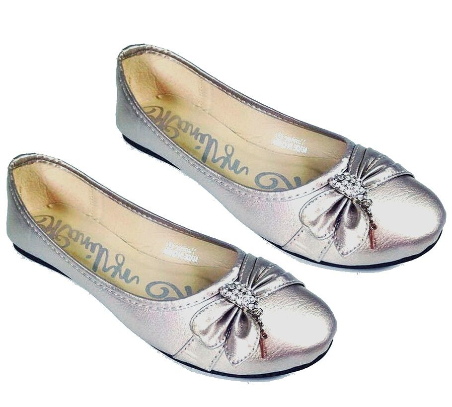 Pewter Round Toe Flats Bow Decor Rhinestones And Charms