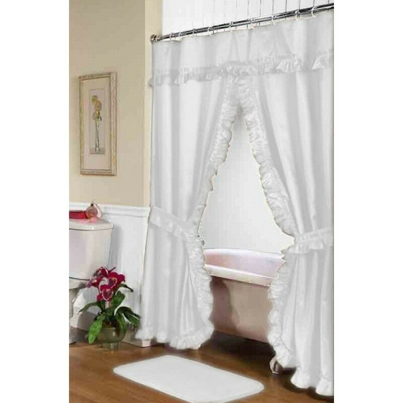 Carnation Home Fashions Lauren Double Swag Shower Curtain White Fscd L 21 New Ebay