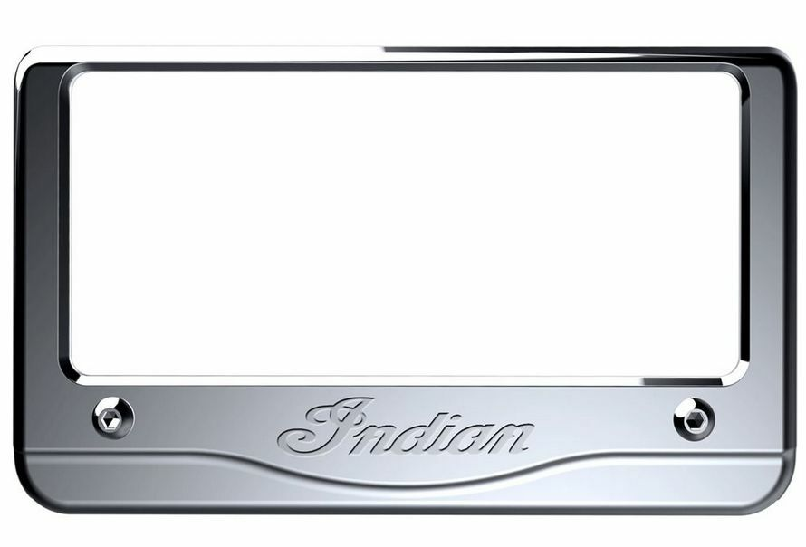 Indian Motorcycle Chrome Script License Plate Frame For