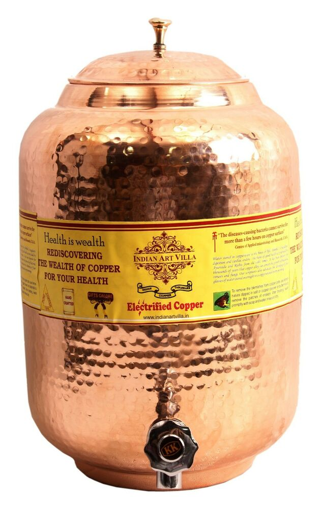 Copper pot water storage tank 5 5 liter with tap kitchen for Copper water tank