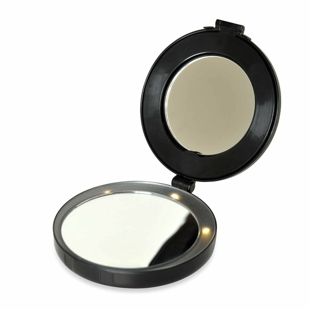 Vanity Lighted Makeup Mirror 10x : NEW Floxite FL-10BCS FL10BCS Compact Mini 10x Magnifying Lighted Vanity Mirror eBay
