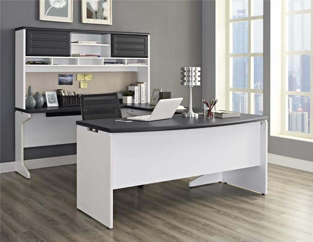 Altra Pursuit U-Shaped Desk with Hutch Bundle White/Gray 9347296 NEW