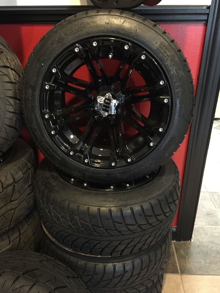 New Hd3 All Black Golf Cart Wheels And Tires Complete Set Ebay