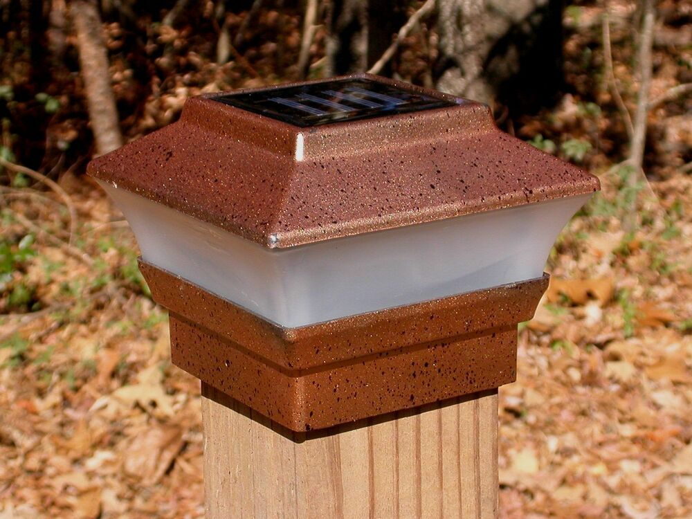 Solar Fence Post Cap Light Copper Color For 4x4 Wood