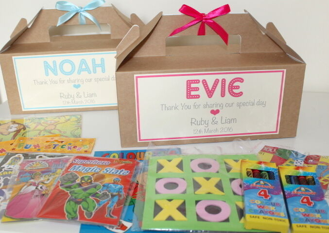Childrens Wedding Gifts: Personalised Filled Childrens Wedding Activity Gift Box