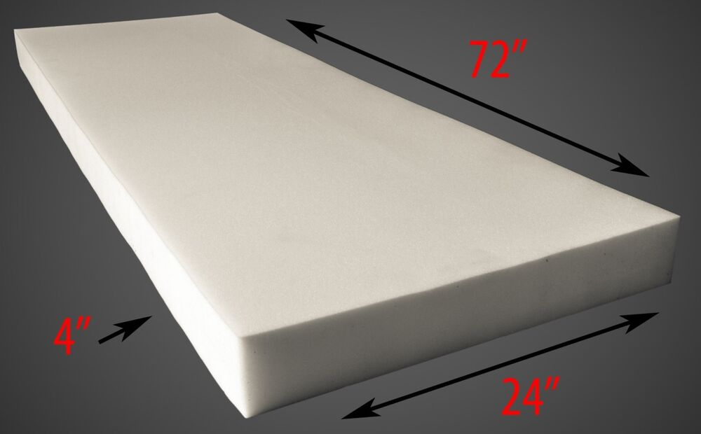 "Upholstery Foam 4"" Thick, 24"" Wide X 72"" Long Medium"