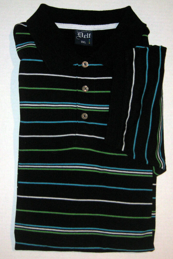 delf striped polo golf shirt xxxl 3xl cotton blend rugby short sleeve ebay. Black Bedroom Furniture Sets. Home Design Ideas