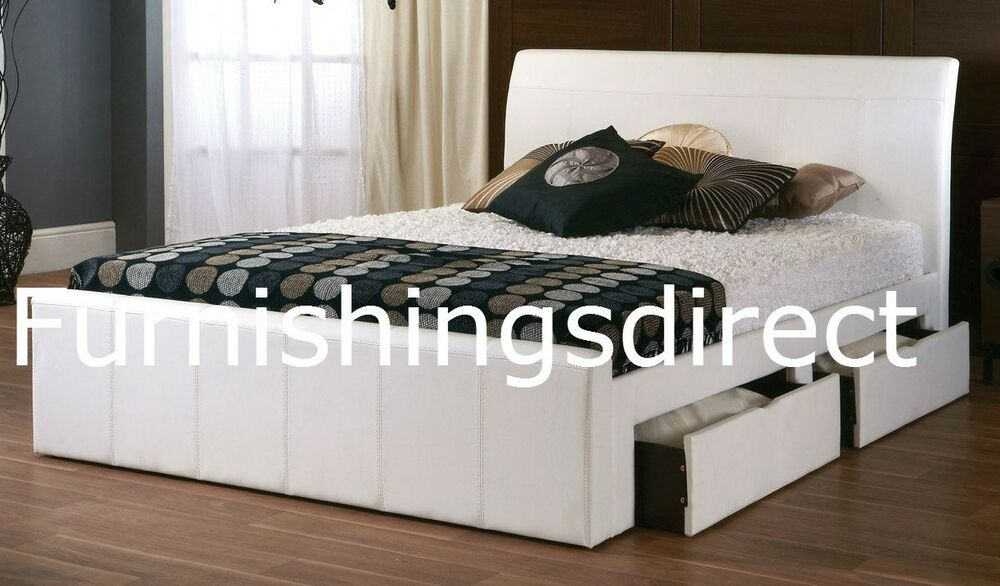 4ft 4ft6 Double 5ft King 6ft Faux Leather White Black Brown 4 Drawer Storage Bed Ebay