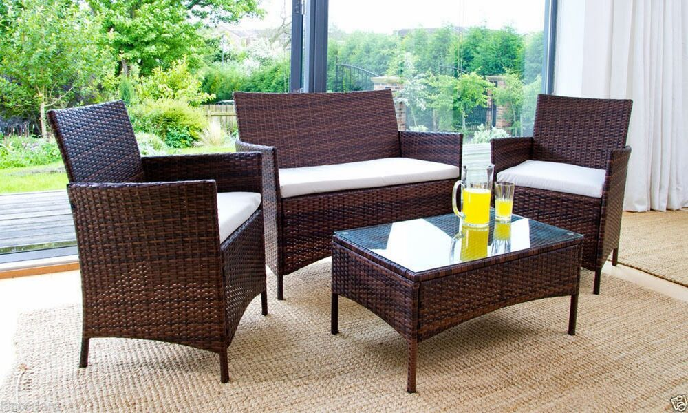 RATTAN GARDEN FURNITURE SET 4 PIECE CHAIRS SOFA TABLE OUTDOOR PATIO CONSERVAT