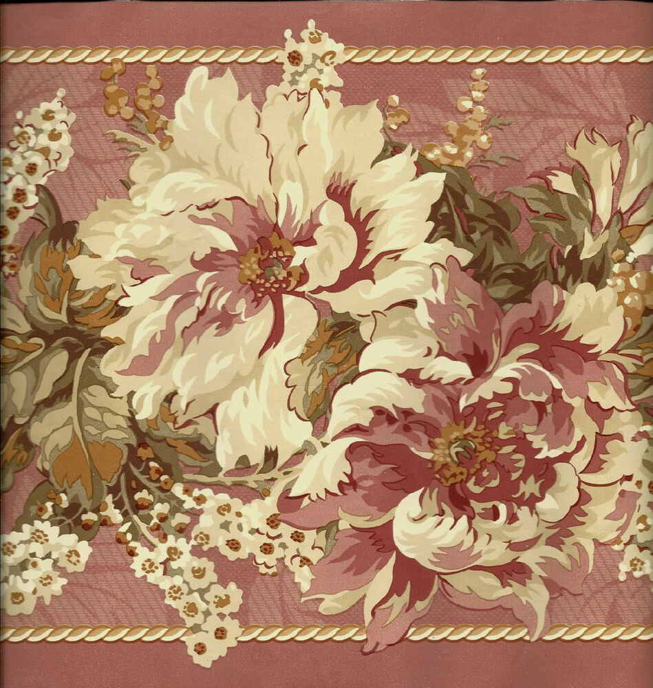 VICTORIAN DUSTY ROSE FLORAL WALLPAPER BORDER