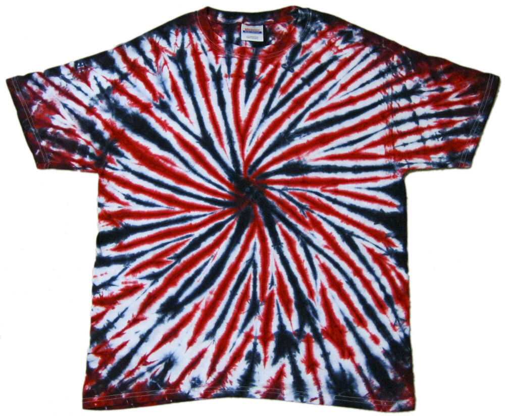 Tie dye t shirts new colors black and red spiral variation for Black and blue tie dye t shirts
