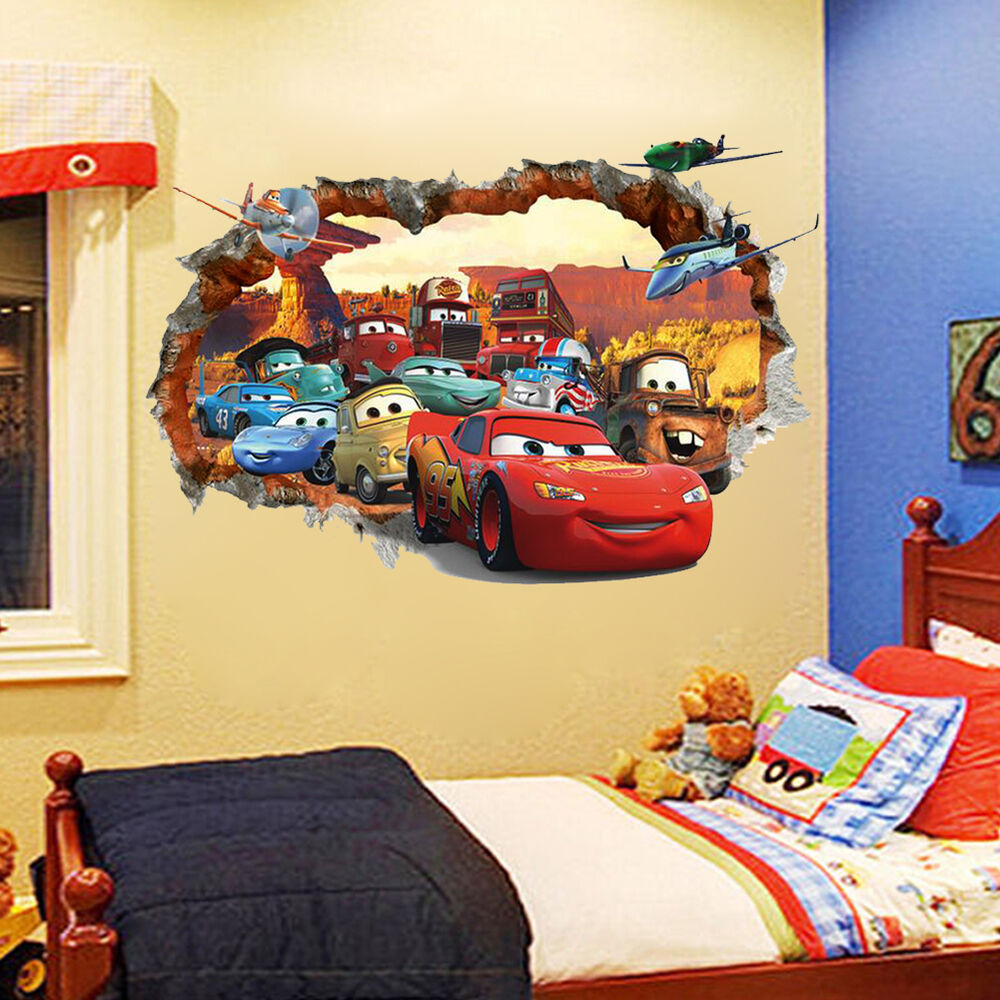 Out wall decal 3d cars mcqueen mater sticker decals kids for Decor mural 3d