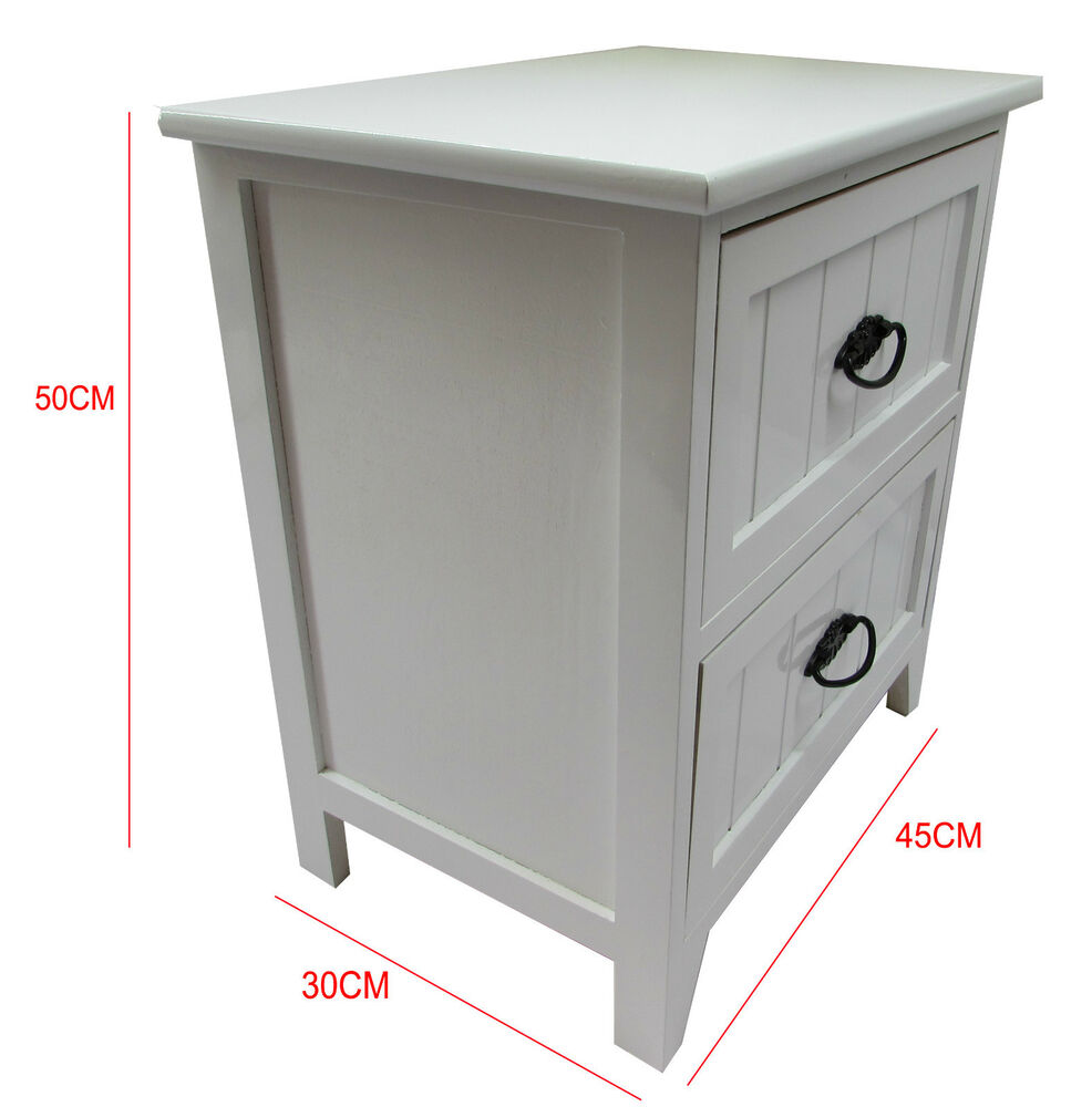 New white gloss wooden small 2 drawer bedside table for Bedside tables with storage
