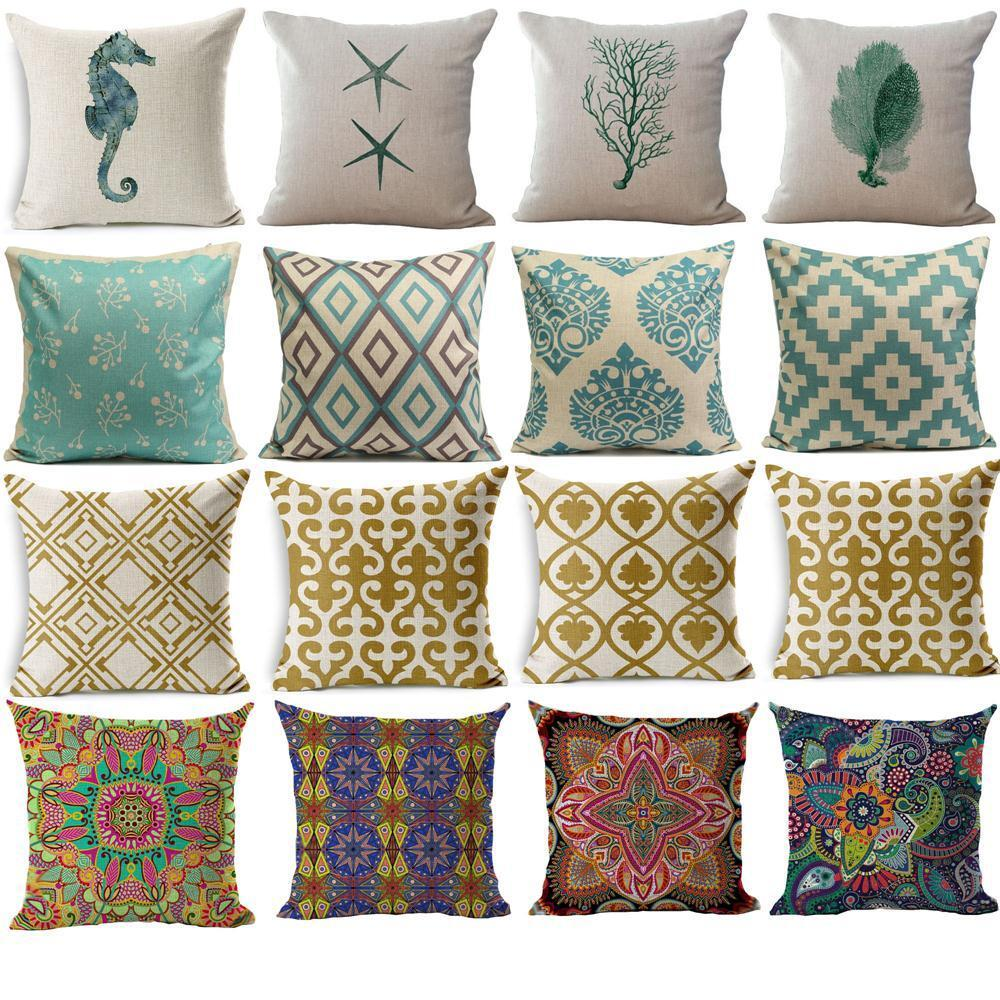 Throw Pillows With Covers : Geometric Flower Ethnic Throw Pillow Cover Case Sofa Decor Cushion Cover eBay