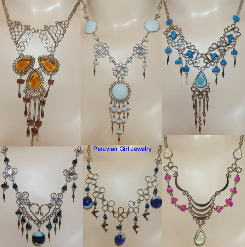 4 Necklaces Peruvian Silver Peru Jewelry Lot Bead Colored
