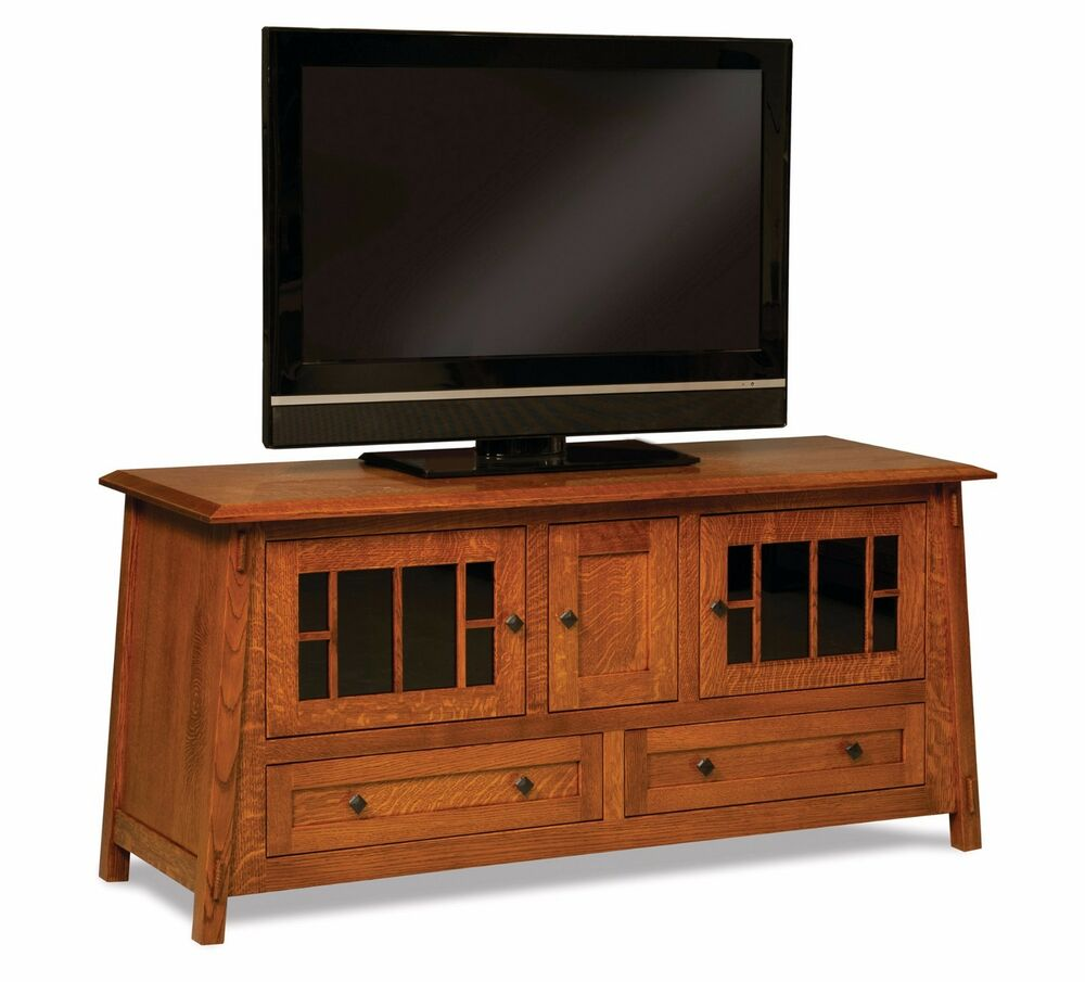 Amish mission craftsman colbran tv stand solid wood for Tv media storage cabinet