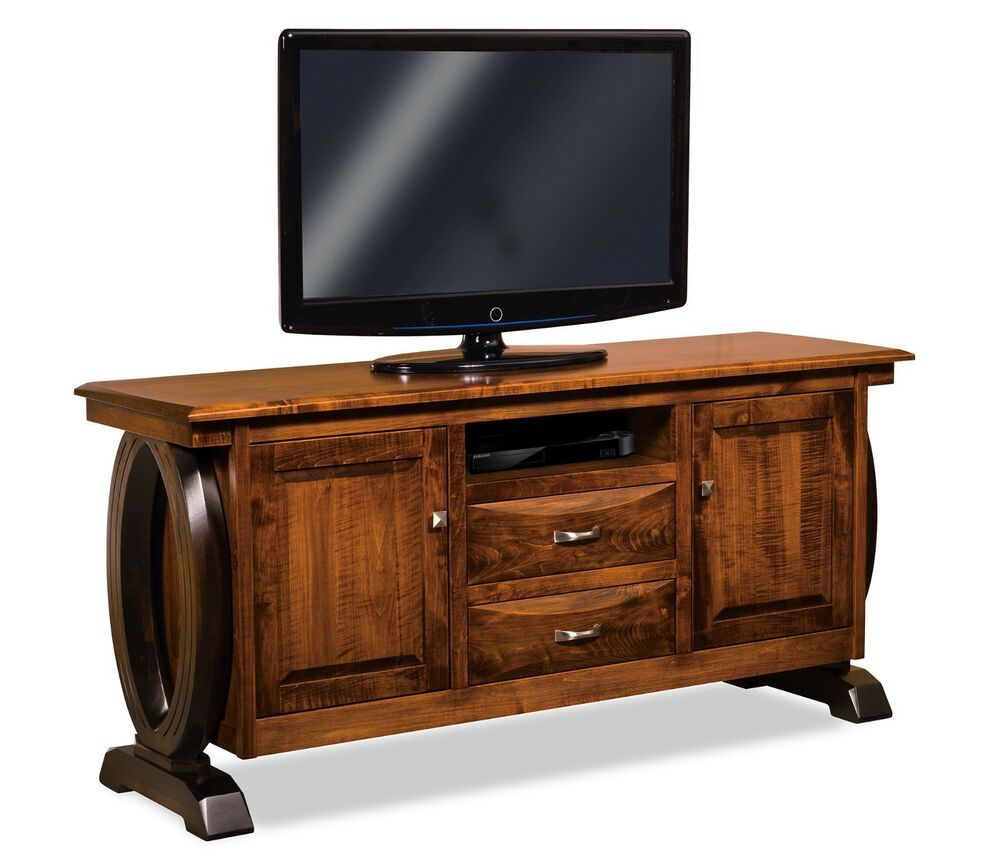 Tv Storage Furniture: Amish Contemporary Saratoga TV Stand Solid Wood Console