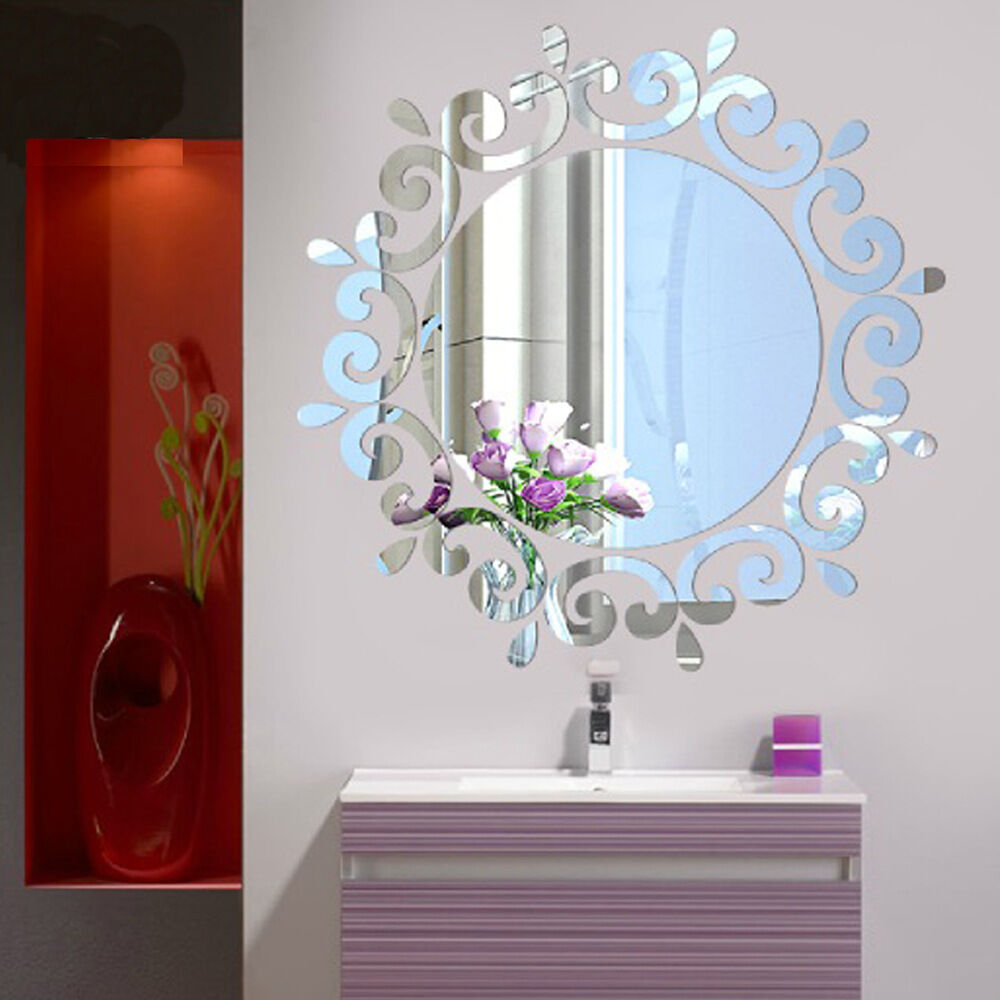 Mirror floral wall stickers art decal mural removable home bathroom decor ebay - Wall decor mirror home accents ...