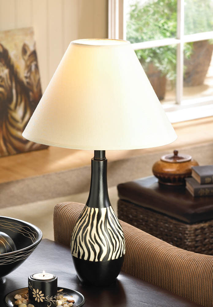 Zebra Animal Print Black White Stripe Bedside Table Lamp