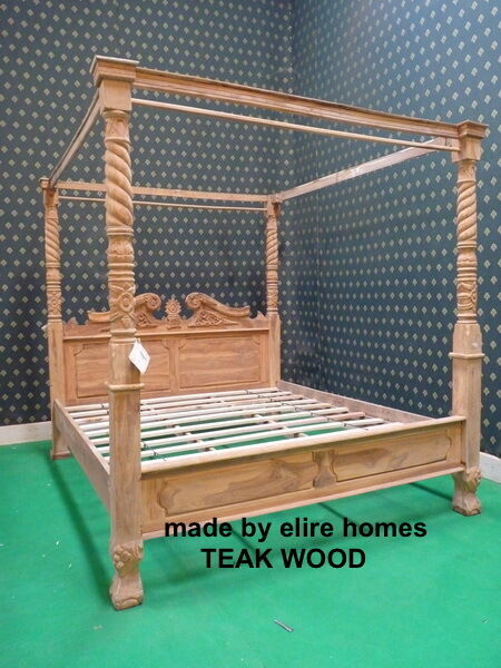 teak wood super king size rustic natural queen anne style four poster canopy bed ebay. Black Bedroom Furniture Sets. Home Design Ideas